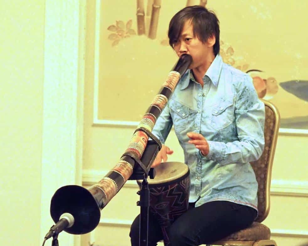 Performing didgeridoo and drumming at the AKASF Conference
